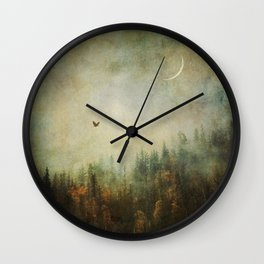 Nature forest fall bird crescent moon photo autumn dreamy home decor wall art surreal painting Wall Clock