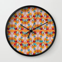 WAVES OF COLOR IN ORANGE Wall Clock