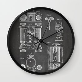 First Computer Patent - Technology Art - Black Chalkboard Wall Clock