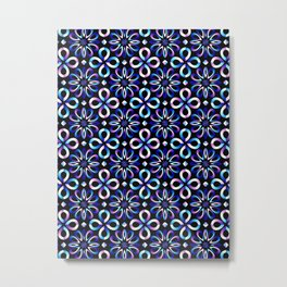 Dark Blue and Pink Pattern Metal Print