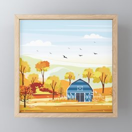 Autumn on the Farm Illustration Framed Mini Art Print