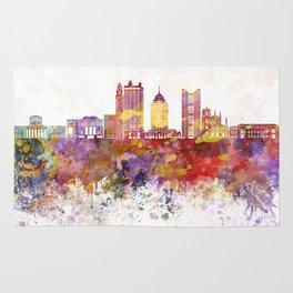 Columbus skyline in watercolor background Rug
