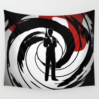 bond Wall Tapestries featuring JAMES BOND by alexa