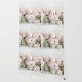 Shabby Chic Dreamy Pastel Peonies Floral Home Decor Wallpaper