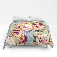 Roses and lilac. Beautiful victorian design Comforters