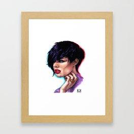 Dark Haired Woman Framed Art Print