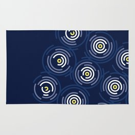 Spin Cycle – Navy / Yellow / Blue Circle Pattern Rug