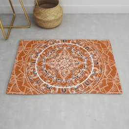 Detailed Burnt Orange Mandala Rug