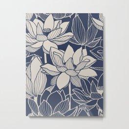 Blue Ink Line Drawing Of Lotus Flowers Floral Pattern Metal Print