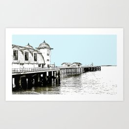 Penarth Pier Cardiff sketch with blue sky Art Print