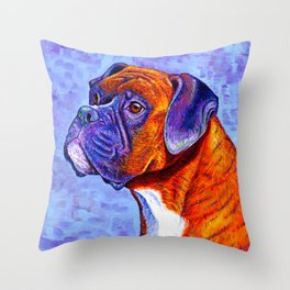 Devoted Guardian - Brindle Boxer Dog Throw Pillow