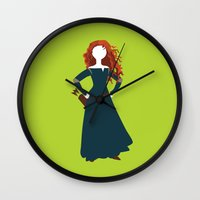 merida Wall Clocks featuring Merida from the Brave by Alice Wieckowska