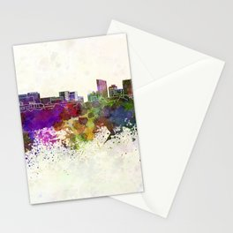 Grand Rapids skyline in watercolor background Stationery Cards