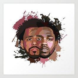 Kendrick Lamar J cole Portrait Art Print