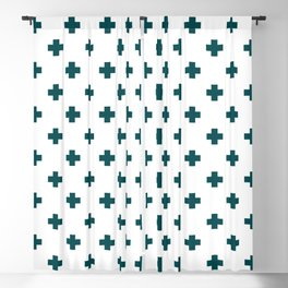 Teal Swiss Cross Pattern Blackout Curtain