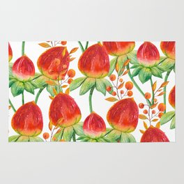 Watercolor hand painted red orange yellow tulip flowers Rug