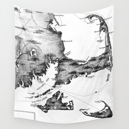 Vintage Map of Cape Cod (1885) BW Wall Tapestry