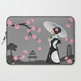 Japanese Geisha under Cherry Blossoms Laptop Sleeve