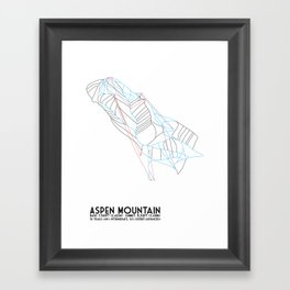 Aspen, CO - Aspen Mountain (Ajax) - Minimalist Trail Map Framed Art Print
