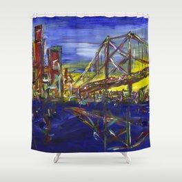 Philly Skyline with Ben Franklin Bridge Shower Curtain