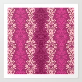 Batik Damask_Pink Art Print