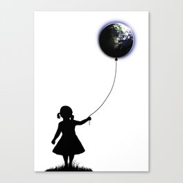 The Girl That Holds The World - White background Canvas Print