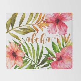 Aloha Watercolor Tropical Hawaiian leaves and flowers Throw Blanket