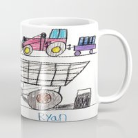 pocket fuel Mugs featuring Taking on Fuel by Ryan van Gogh