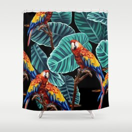 tropical leaves macaw pattern 2 Shower Curtain