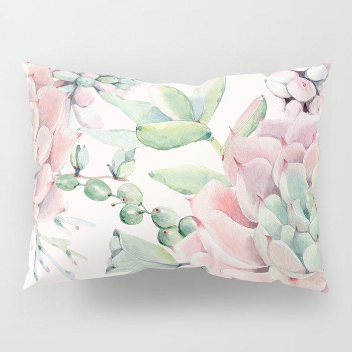 Pink Succulents on Cream Pillow Sham