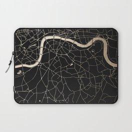 London Black on Gold Street Map II Laptop Sleeve