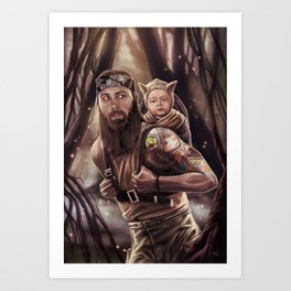 Father and Son Swamp Training Art Print