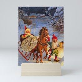 """Sled Ride at Night"" by Jenny Nystrom Mini Art Print"
