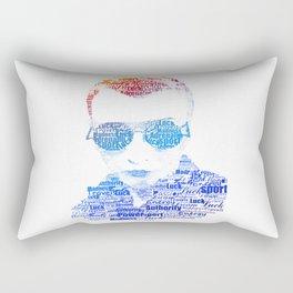 Portrait of a man text. Power, money, Sport, luck, sex, travel, adrenaline, luck, youth, enthusiasm. Rectangular Pillow
