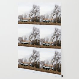 Wind Blown trees and barn Wallpaper