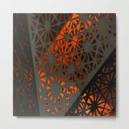 Abstract lighted Wallpaper of a metal starburst grid with orange back lighting Metal Print