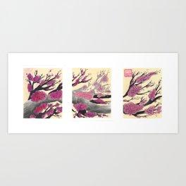 Pink Cherry Blossoms Triptych Art Print
