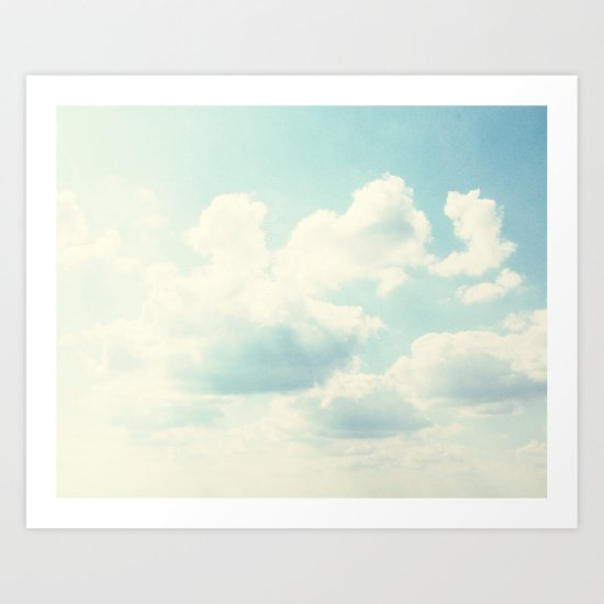 White Fluffy Clouds Art Print