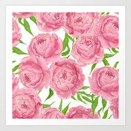 Pink peonies watercolor Art Print