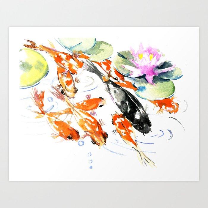 Nine Koi Fish, 9 KOI, feng shui artwork asian watercolor ink painting Art Print