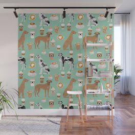 Great Dane coffee cafe dog breed pattern custom pet portrait Wall Mural