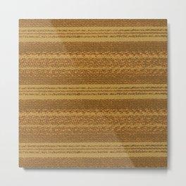 Big Stich Yellow Straw - Knitting Fabric Art Metal Print