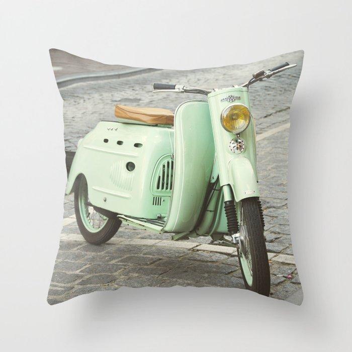 Mint Moto Throw Pillow