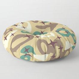 Retro Mid Century Modern Abstract Composition 940 Floor Pillow