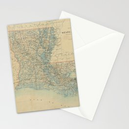 Vintage Map of Louisiana (1896) Stationery Cards