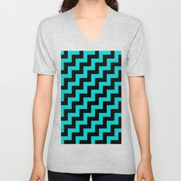 Black and Cyan Steps RTL Unisex V-Neck
