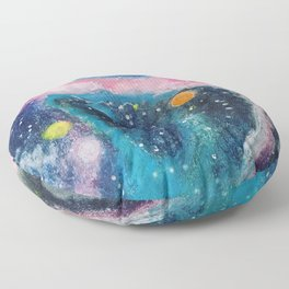 Pink and blue galaxy Floor Pillow