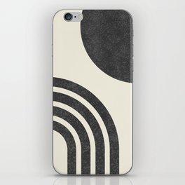 Mid century modern - Sun & Rainbow black iPhone Skin