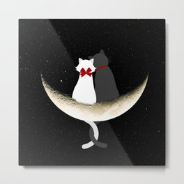 Cats and moon Metal Print