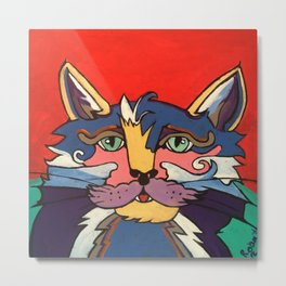 The Streetwise Old Colorful Cat Prints, Posters and Pillows Metal Print